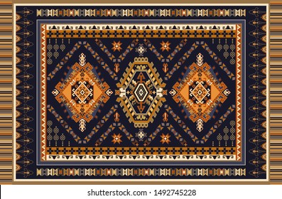 Colorful ornamental vector design for rug, tapis, yoga mat.  Geometric ethnic clipart. Arabian ornamental carpet with decorative elements. Persian abstract folk rug design