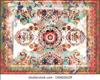 Colorful ornamental vector design for rug, tapis, blanket, shawl.  Geometric ethnic template. Arabian ornamental carpet with decorative elements. Persian abstract folk design. Aging effect