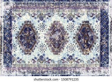 Colorful ornamental vector design for rug, tapis, blanket, shawl.  Geometric ethnic template. Red arabian ornamental carpet with decorative elements. Persian floral folk design. Rug with aging effect
