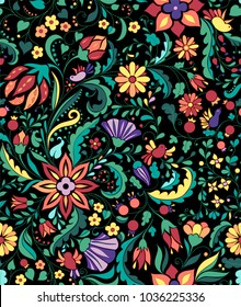 Colorful and ornate ethnic pattern. Folk embroidery seamless wallpaper.