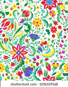 Colorful and ornate ethnic pattern. Folk embroidery seamless wallpaper