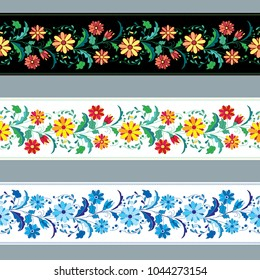 Colorful and ornate ethnic pattern. Mexican embroidery seamless pattern. Floral vector border.