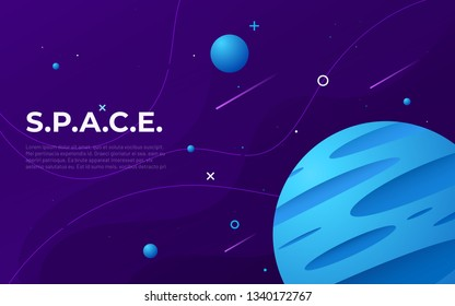 Colorful outer space abstract background, design, banner, artwork. Vector illustration.