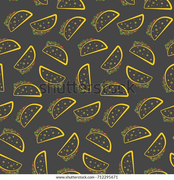 Colorful Outline Tasty Tacos On Black Stock Vector Royalty Free Images, Photos, Reviews