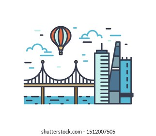 Colorful outline urban landscape isolated on white background. Cityscape with modern skyscrapers, bridge and air balloon flying in the sky. Line art sign with city scenery. Vector illustration.