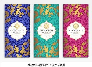 Colorful packaging design of chocolate bars. Vintage vector ornament template. Elegant, classic elements. Great for food, drink and other package types. Can be used for background and wallpaper.