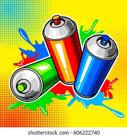 Colorful paint cans comic book pop art retro style vector illustration