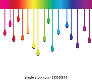 Colorful paint dripping.Paint drips background.Vector illustration.