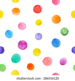 Colorful paint  seamless pattern. Abstract vector . Watercolor polka dot. Bright splashes isolated on white