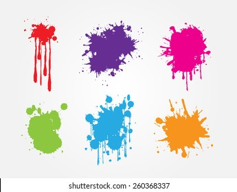 Colorful paint splat set.Paint splashes for design use.Abstract vector illustration.