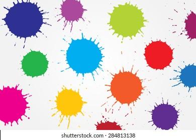 Colorful paint splat.Paint splashes background.Vector illustration.