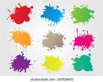 Colorful paint splat.Paint splashes set for design use.Abstract vector illustration.