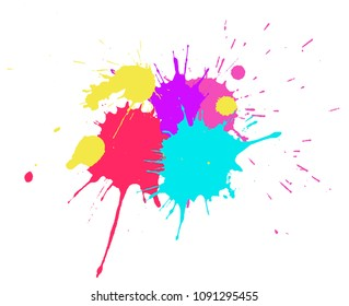Colorful Paint Splatters.Abstract banner with splashes. Vector illustration.