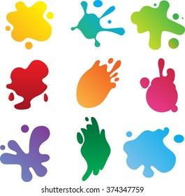 Colorful paint stains of different shapes. Various isolated blobs. Vector illustration.