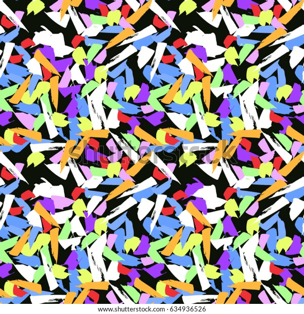 Colorful paint strokes. Pattern with spots and blobs of paint or ink. Vector hand drawn textures. Seamless abstract background.