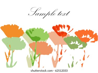Colorful painted flower meadow background