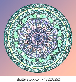 Colorful painted  mandala in center. Vector