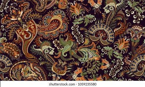 Colorful Paisley pattern for textile, cover, wrapping paper, web. Ethnic vector wallpaper with decorative elements. Indian decorative backdrop. Vector indonesian batik
