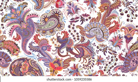 Colorful Paisley pattern for textile, cover, wrapping paper, web. Ethnic vector wallpaper with decorative elements. Indian decorative backdrop. Vector illustration, batik indonesia