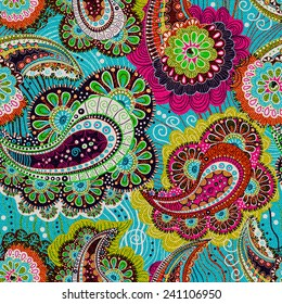 Colorful paisley seamless pattern. Blue, pink wallpaper