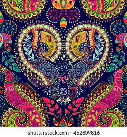 Colorful Paisley seamless pattern. Original decorative backdrop