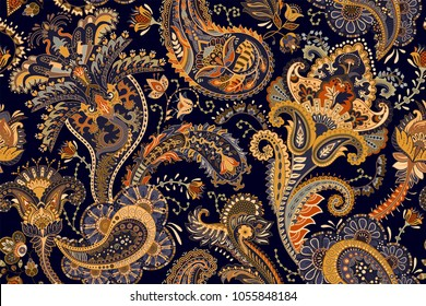 Colorful Paisley wallpaper. Vector Indonesian batik. Bright classic indian fabric. Paisley wallpaper. Ethnic background with paisley and stylized flowers. For textile, cover, wrapping paper, fabric