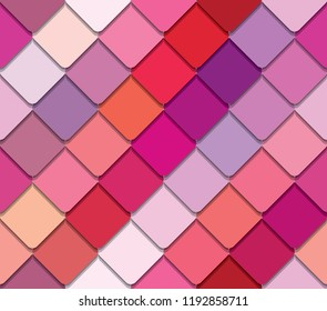 Colorful palette seamless pattern. Pink, beige and purple. Girly.