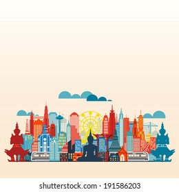 Colorful panorama asia city and building, illustration vector Bangkok city