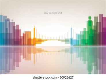 Colorful panorama city with bridge vector background