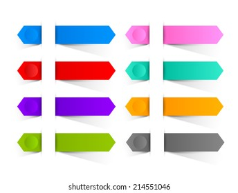 Colorful paper buttons or ribbons inserted into another piece of paper