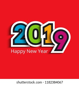 Colorful paper cut 2019 text design. Vector greeting illustration with numbers on red background. Happy New Year lettering