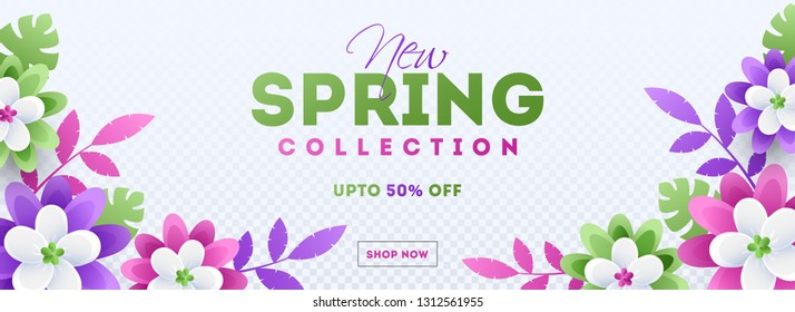 Colorful paper cut flowers decorated header or banner design for new spring sale concept.
