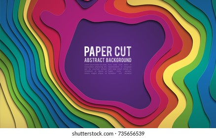 Colorful paper cutout. Paper cut banner concept. Paper carve blue gradient for card poster brochure flyer design in blue colors. 3d abstract background