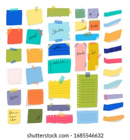 Colorful paper on wall glued with adhesive tape bright set horizontal and vertical leaflets for notes business person. Vector illustration. Organization successful workflow.