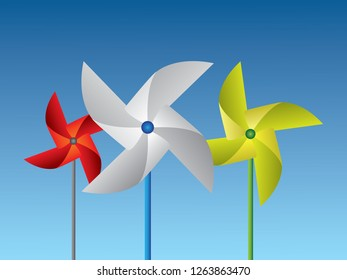 Colorful paper pinwheels arrange in a row vector illustration on blue background for childhood game