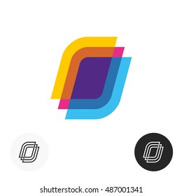 Colorful paper sheets logo. Transparent overlay style symbol. Office or learning theme application. Linear style versions included.
