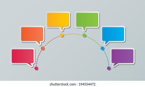 colorful paper speech bubble timeline infographic design templates. vector.