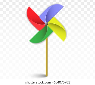 Colorful paper windmill pinwheels isolated on white. Pinwheel with shadow