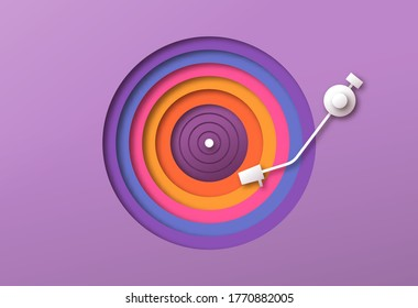 Colorful papercut vinyl record player with rainbow disk cutout circle. Retro music design in trendy 3d paper craft art style. Fun musical event, party celebration or streaming concept.