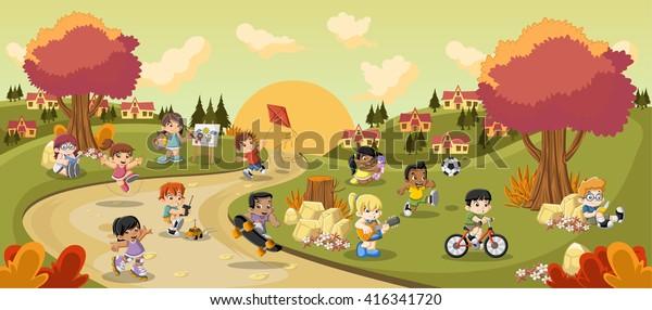 Parque colorido en la ciudad con niños de dibujos animados jugando. Deportes y juguetes.