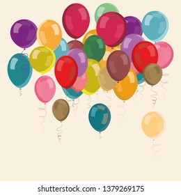 Colorful party balloons flying up. Vector illustration on light yellow background