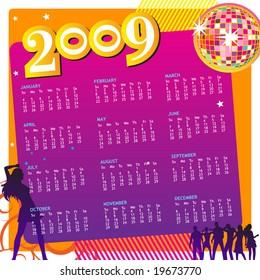 Colorful Party Calendar 2009. (Editable)