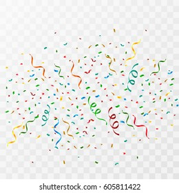 Colorful party confetti on a transparent background.
