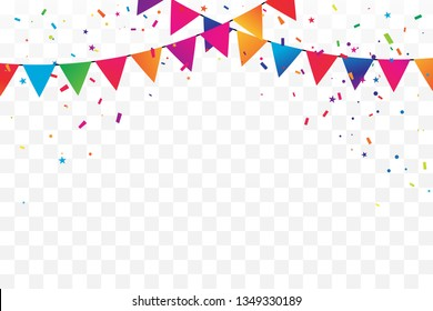 Colorful Party Flag And Confetti On Transparent Background. Celebration & Congratulations. Happy Birthday. Vector Illustration