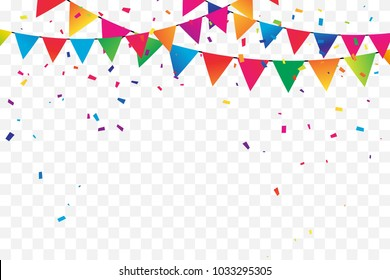 Colorful Party Flags With Confetti Falling On Transparent Background. Celebration Event & Birthday. Multicolored. Vector