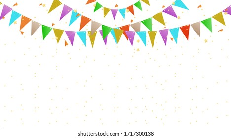 Colorful Party Flags And Confetti. Holiday Festival Design for Greeting Card, Invitation or Poster. Celebration & Party.Surprise Banner. Festa Junina Brazil. Stock vector Illustration on isolated bg.