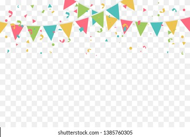Colorful Party Flags And Confetti On Transparent Background. Celebration & Party. Surprise Banner. festa junina brazil. Vector Illustration