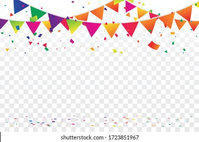 Colorful Party Flags And Confetti On Background. Celebration & Party. Surprise Banner. festa junina brazil. Vector Illustration