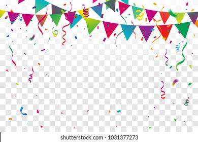 Colorful Party Flags With Confetti And Ribbons Falling On Transparent Background. Celebration Event & Happy Birthday. Multicolored. Vector