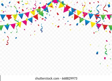 Colorful Party Flags With Confetti And Ribbons Falling On Transparent Background. Celebration Event & Birthday. Multicolored. Vector